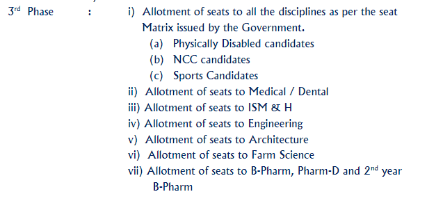 KCET 2020 Procedure of Seat Allotment third phase